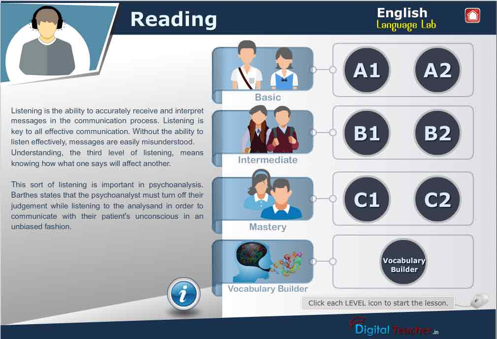 English Language Lab provides activities with different levels of English Reading Skills
