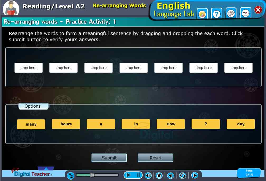 English Language Lab Reading practical activity on rearranging words to form a meaning full sentences by dragging and dropping