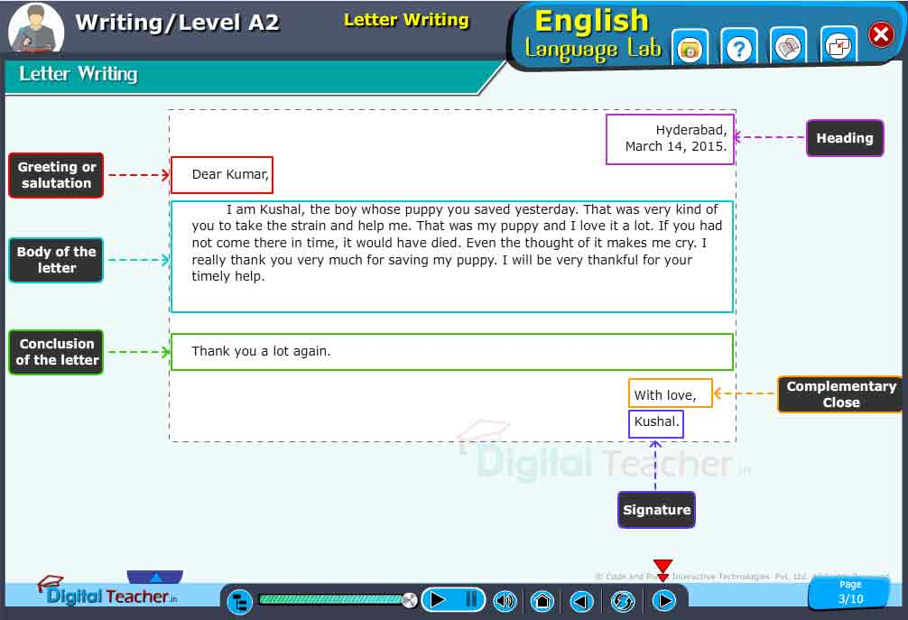 English Language Lab practical activity on letter writing to improve English writing skills