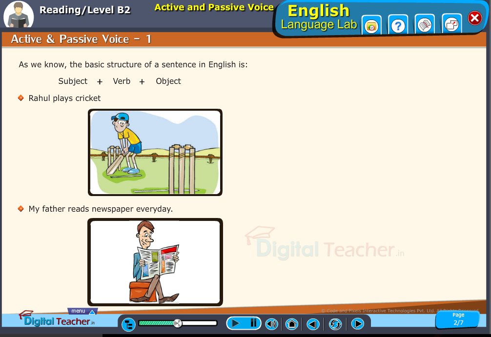 English language lab reading infographic provides activity for formation of sentences by active and passive voice