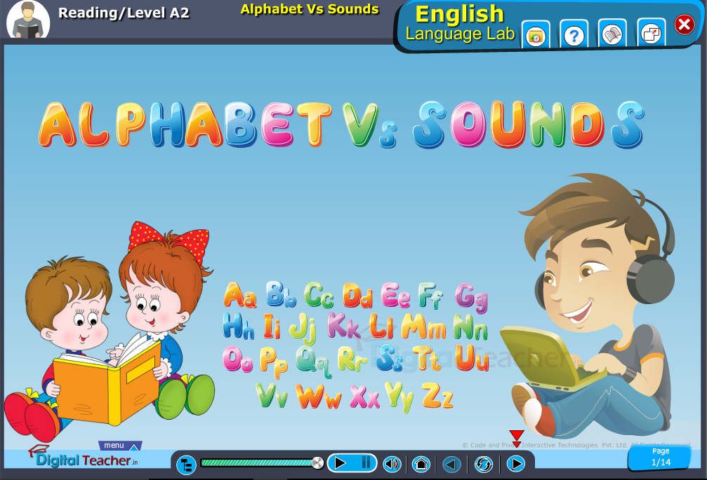 English language lab reading infographic provides activity to know about alphabets vs sounds