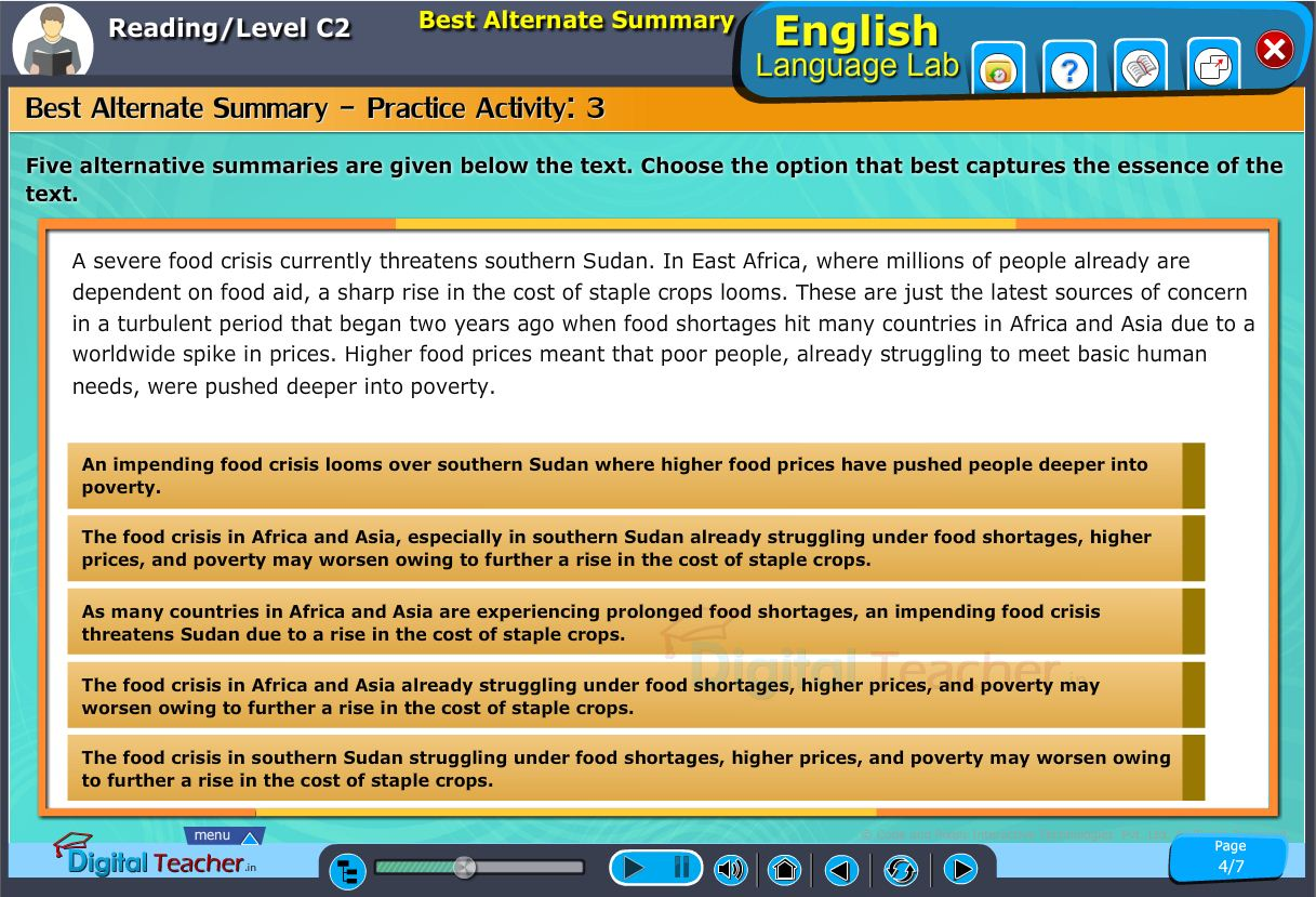 English language lab reading infographic provides activity on best alternate summary to choosing the best option