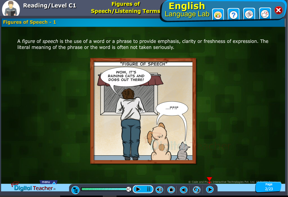 English language lab reading infographic teaches to know about figures of speech or listening terms