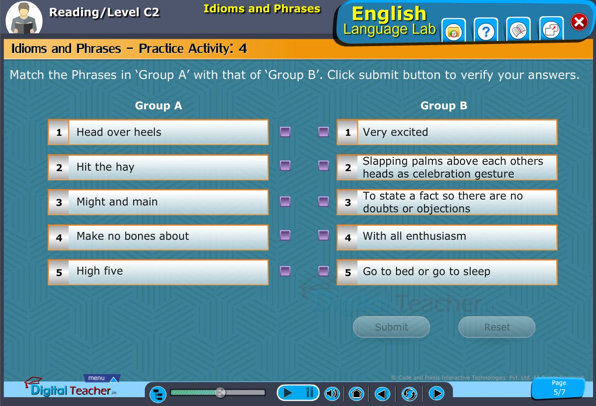 English language lab reading infographic provides activity on matching the phrases from one group to another