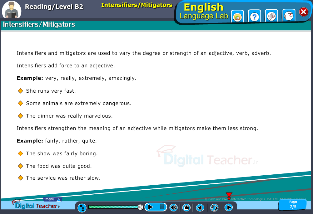 English language lab reading infographic teaches to know about intensifiers and mitigators