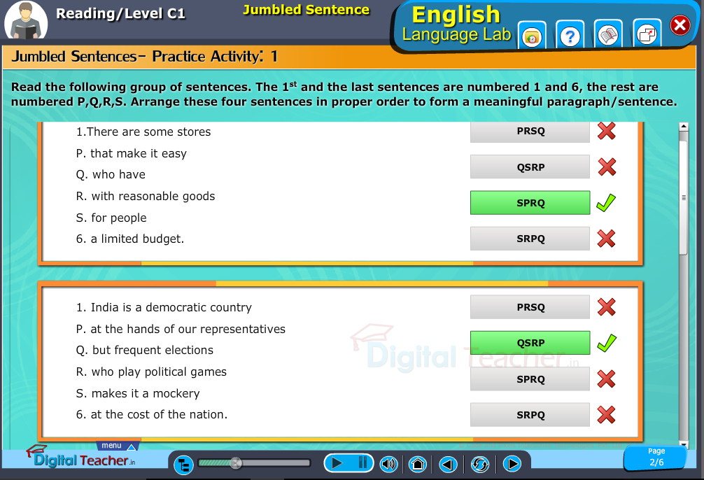 English language lab reading infographic provides a practical activity on jumbled sentences