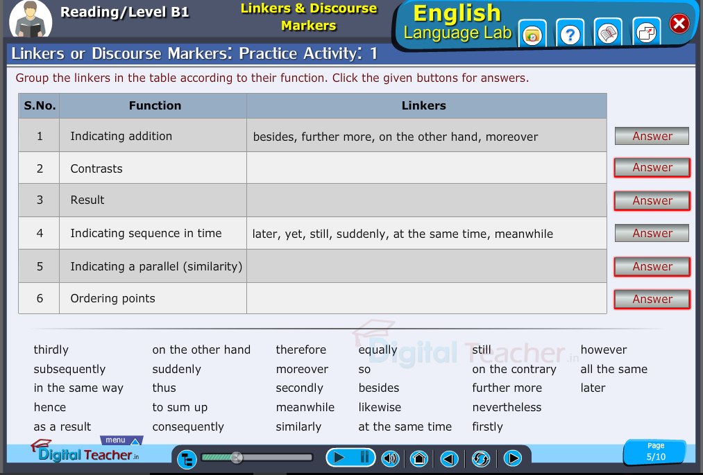 English language lab reading infographic provides a practical activity on linkers or discourse markers in vocabulary