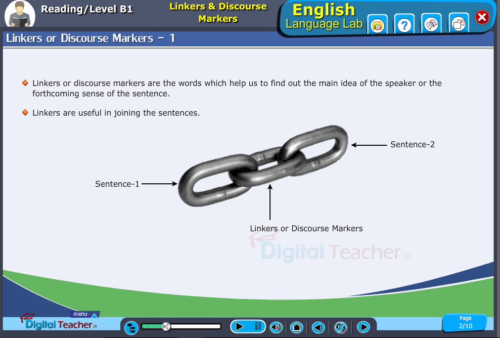 English language lab reading infographic provides activity to know about linkers or discourse markers in vocabulary