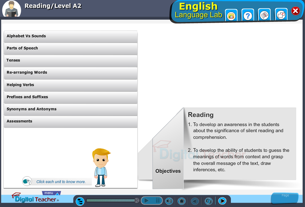 English language lab reading infographic provides activities with level A2 of reading skills