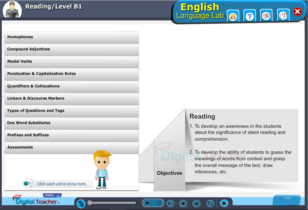 English language lab reading infographic provides activities with level B1 of reading skills