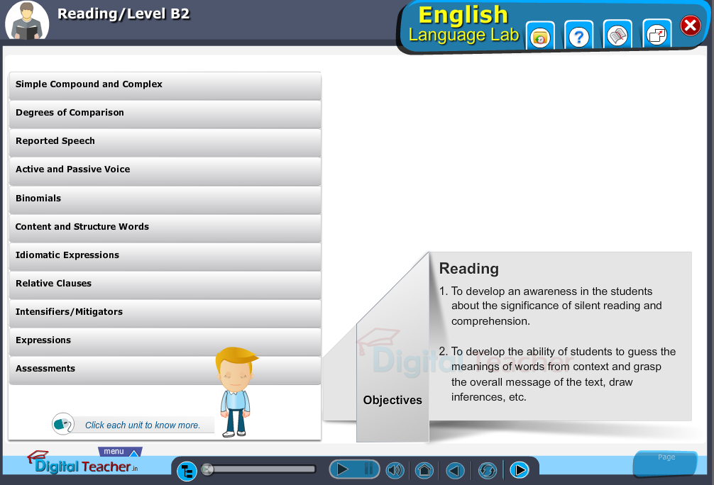 English language lab reading infographic provides activities with level B2 of reading skills