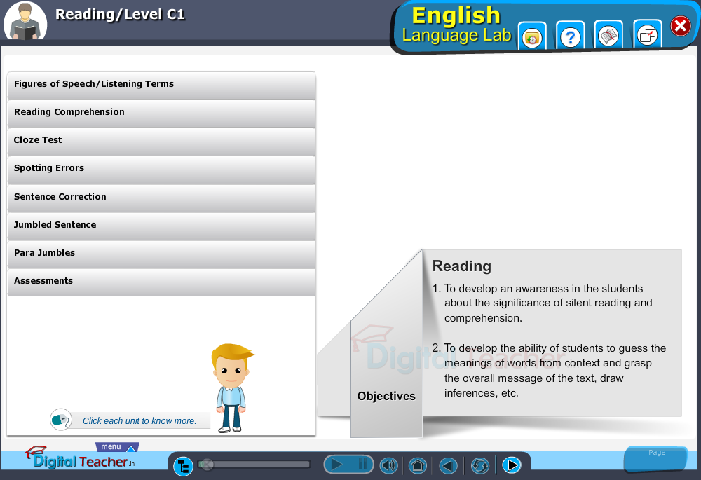 English language lab reading infographic provides activities with level C1 of reading skills