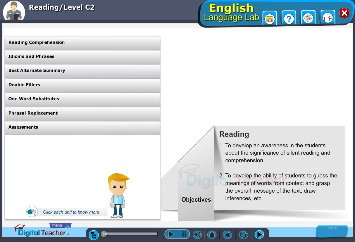 English language lab reading infographic provides activities with level C2 of reading skills