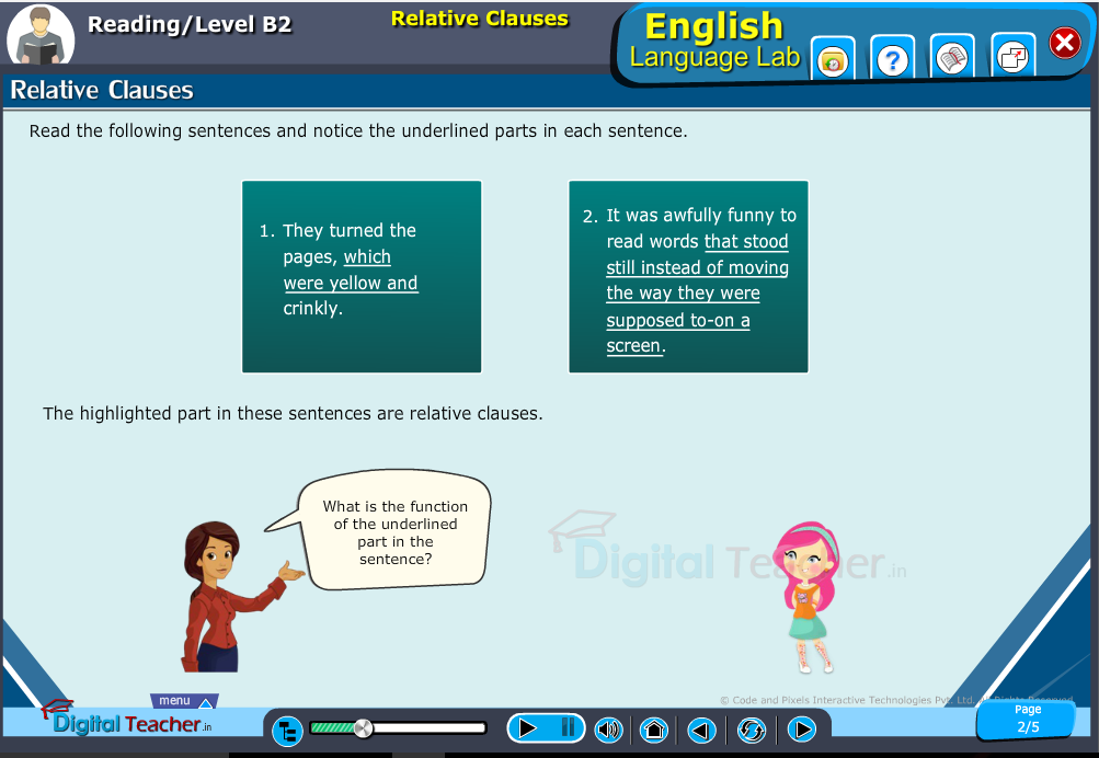 English language lab reading infographic teaches to know about relative clauses