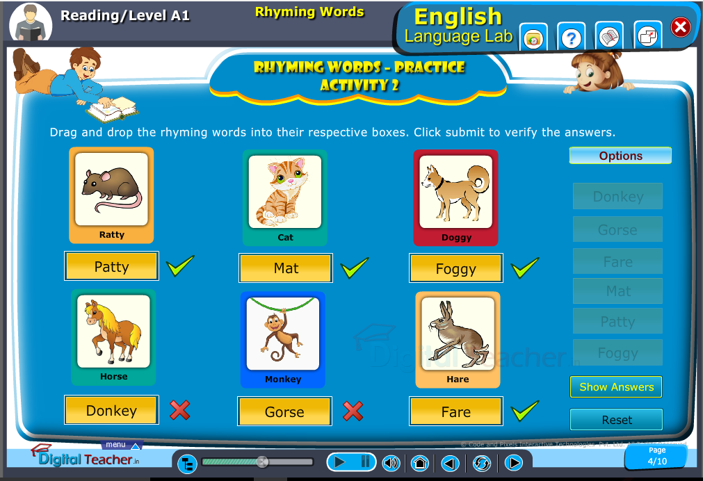 English language lab reading infographics provides activity to practice rhyming words by matching them with there rhyming word
