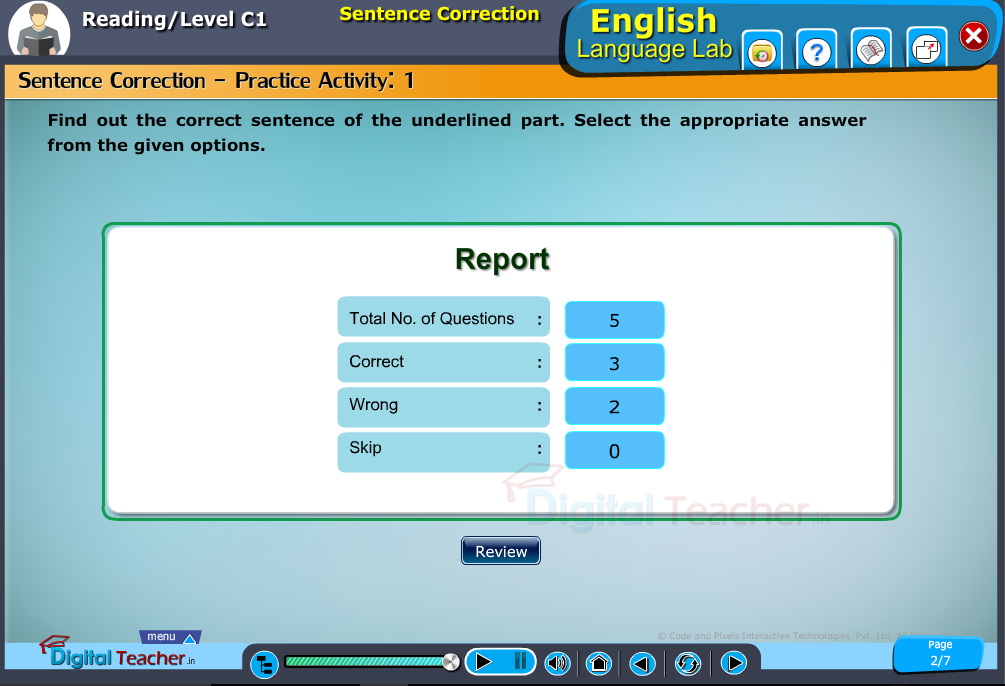 English language lab reading infographic provides activity of sentence correction