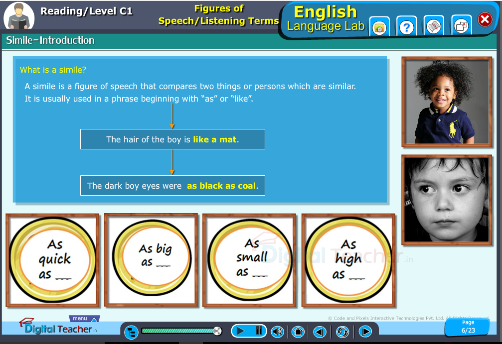 English language lab reading infographic teaches to know about the definition of simile