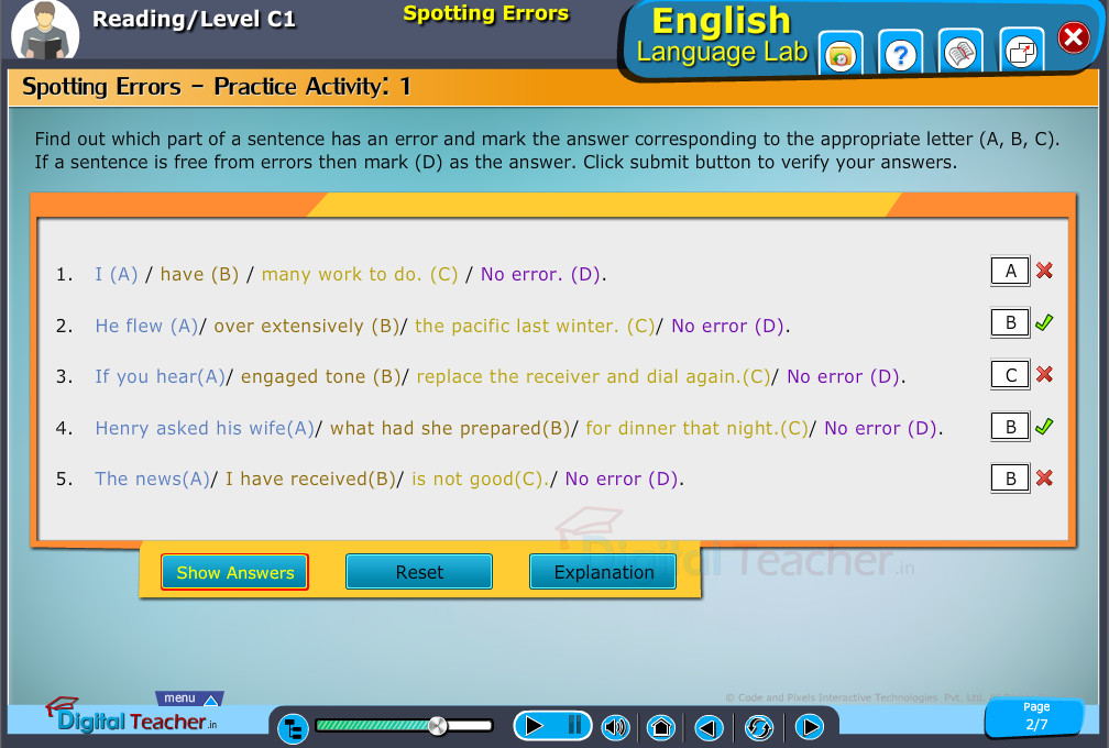 English language lab reading infographic provides activity of spotting error in a sentence