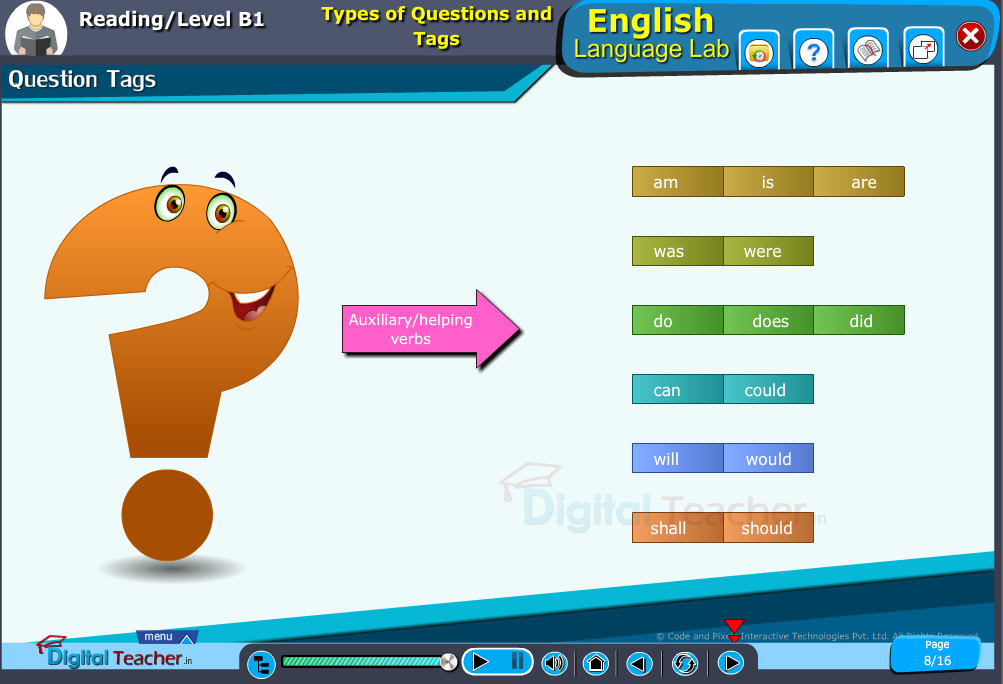 English language lab reading infographic provides a practical activity on formation of different types in question tags