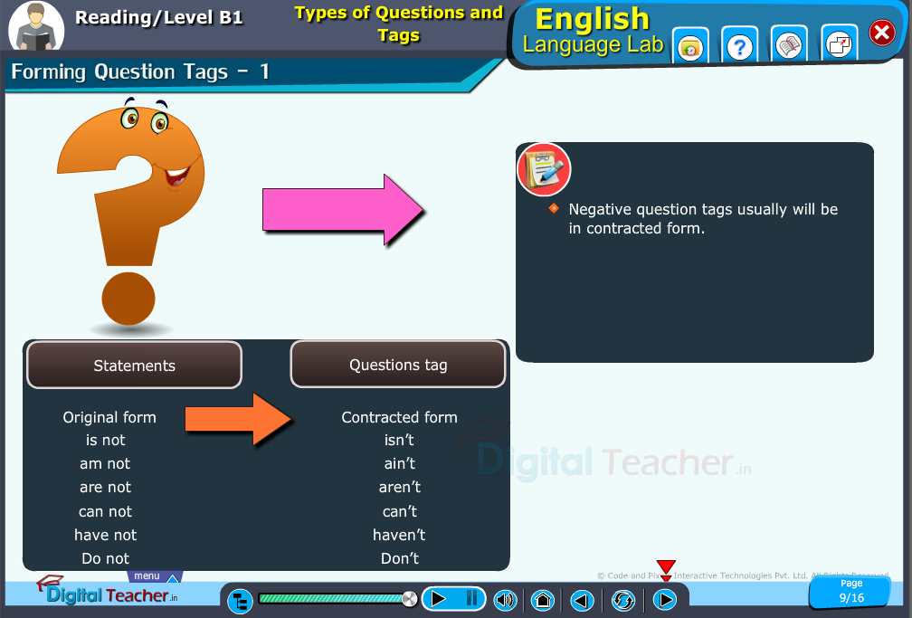 English language lab reading infographic provides activity to know about types of question and tags and forming them.