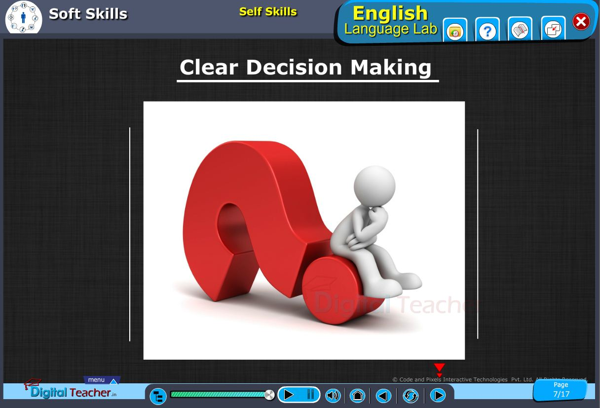 English language lab softskills infographic about clear decision making