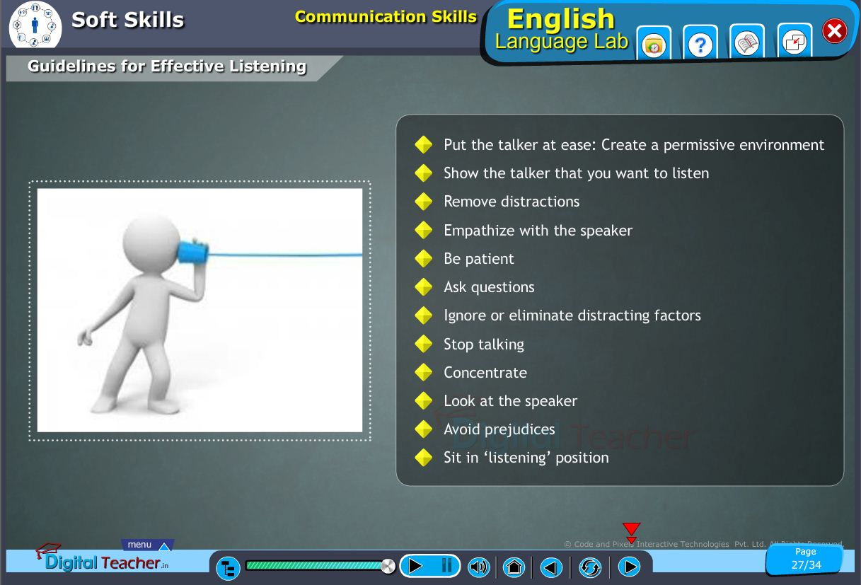 English language lab softskills infographic on various guidelines for effective listening in communication