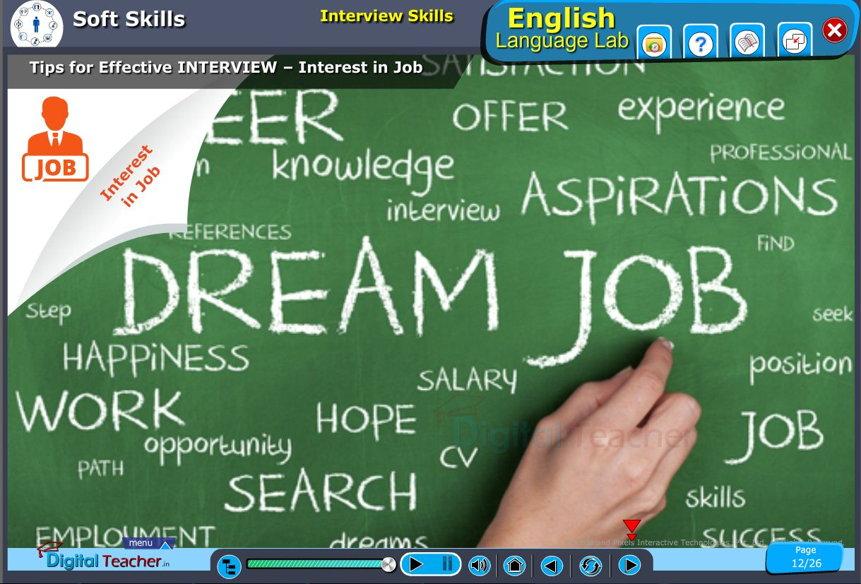 English language lab softskills infographic on tips for effective interview and defining interest in job by interview skills
