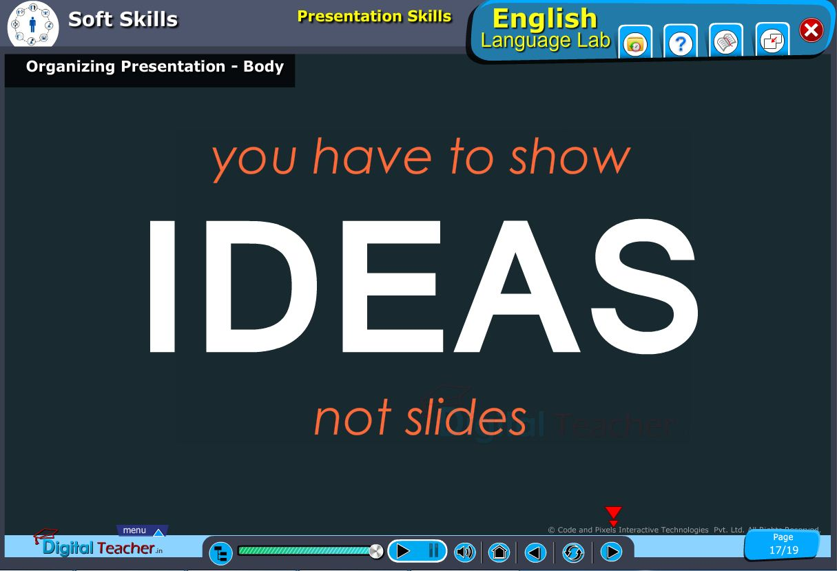 English language lab softskills infographic about presentation skills of the body