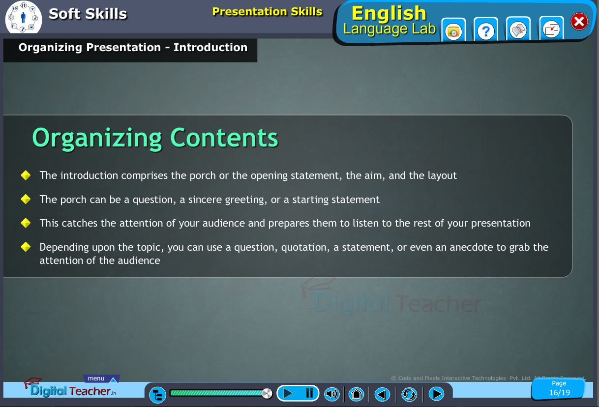 English language lab softskills infographic about introduction of organizing presentation skills