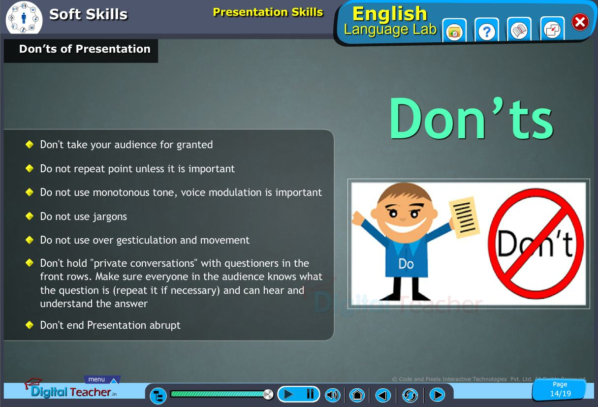 English language lab softskills infographic about dont's of presentation