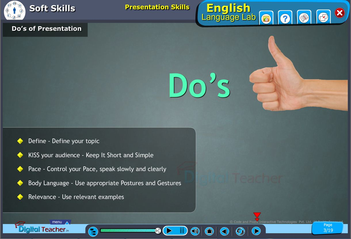 English language lab softskills infographic about do's of presentation and define a topic