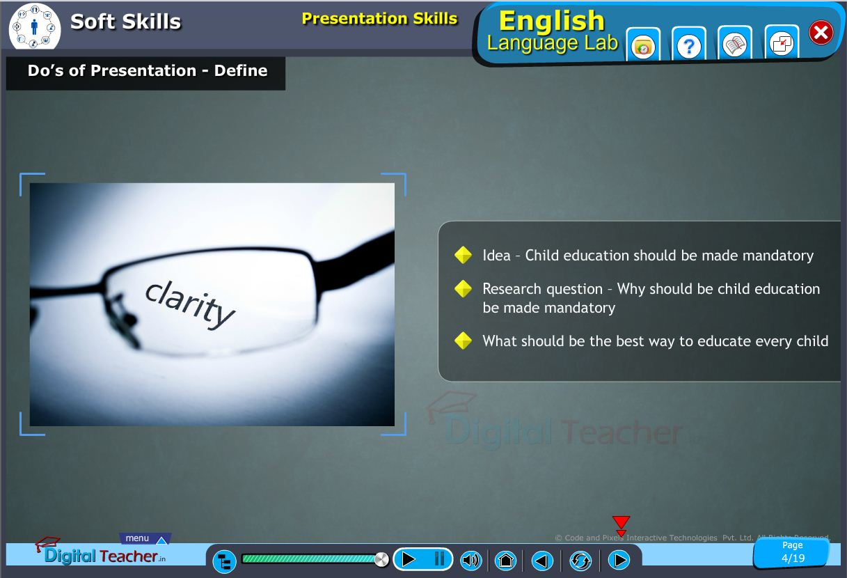 English language lab softskills infographic about do's of presentation