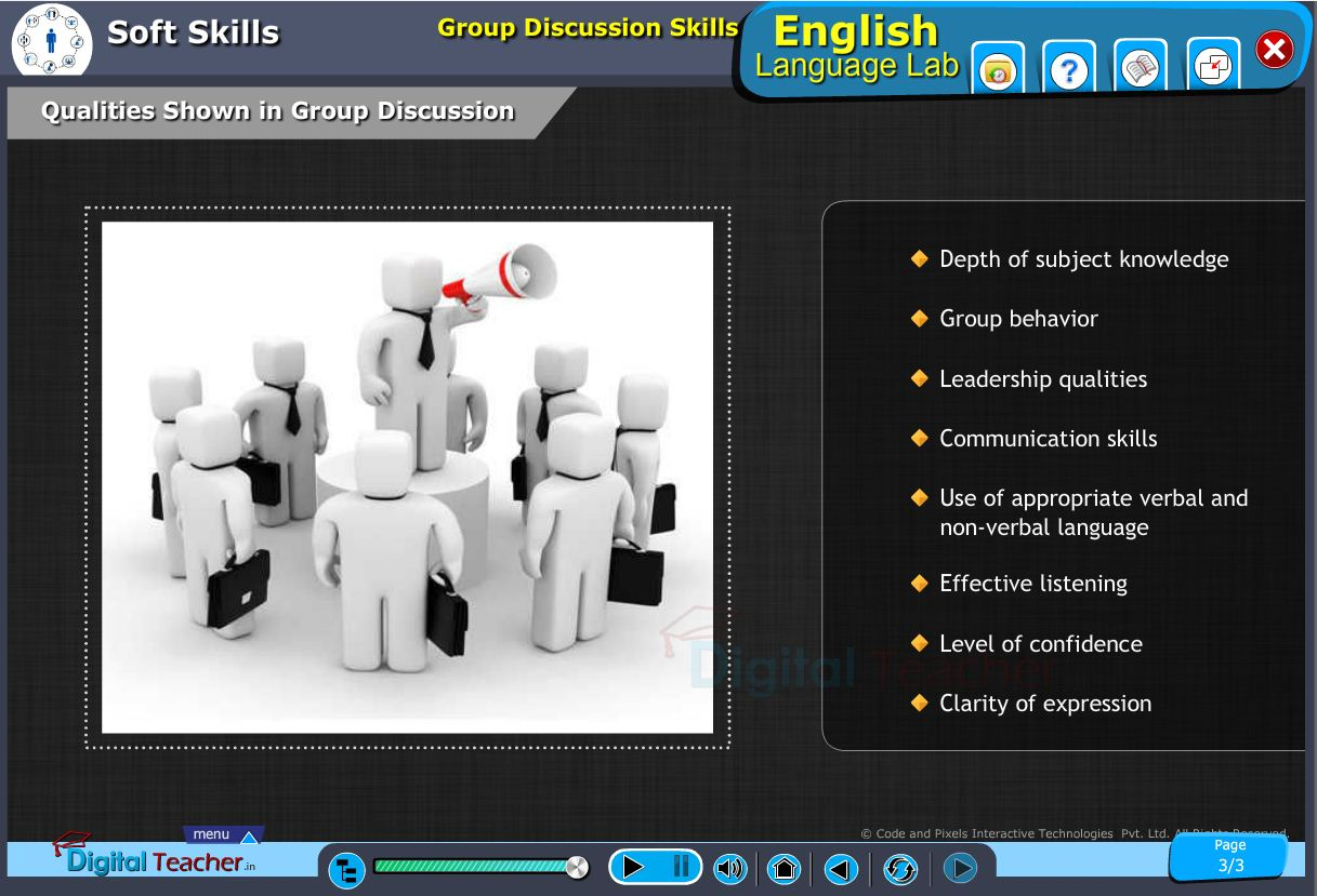 English language lab softskills infographic provides activities of group discussion and qualities to be shown in it