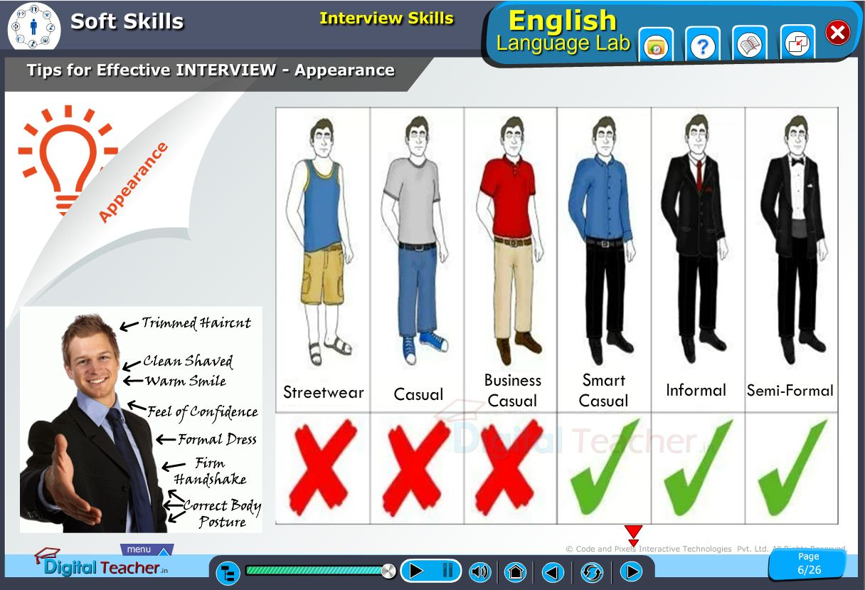 English language lab softskills infographic on tips for effective interview management