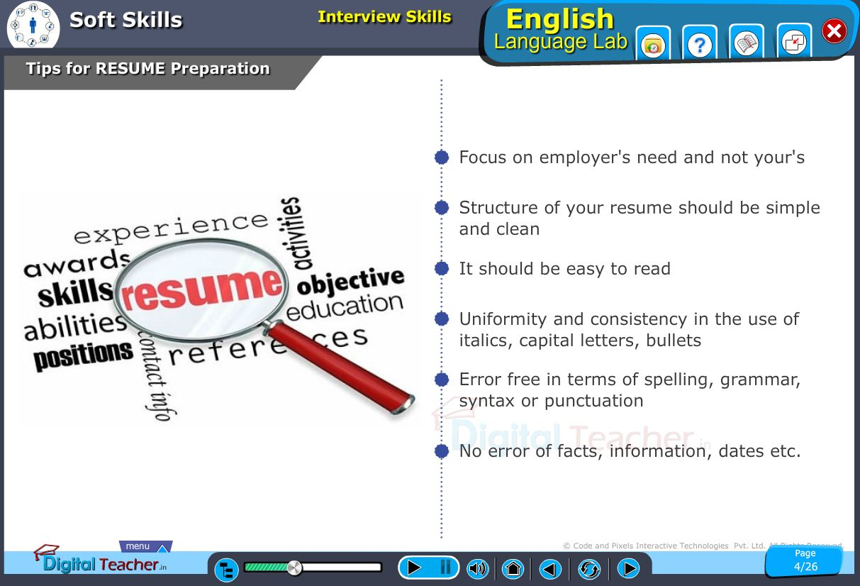 English language lab softskills infographic provides tip to prepare your resume effectively to be get shortlisted