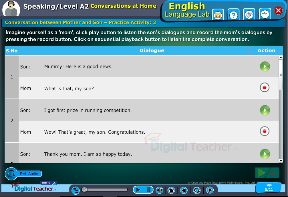 English speaking infographic provides activity in conversation between mother and son by recording the mom's dialogues and cplayback whole conversation