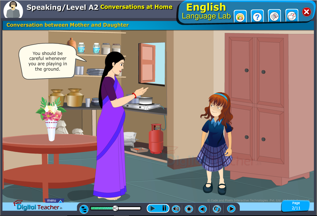 English speaking infographic provides activity in conversation between mother and daughter