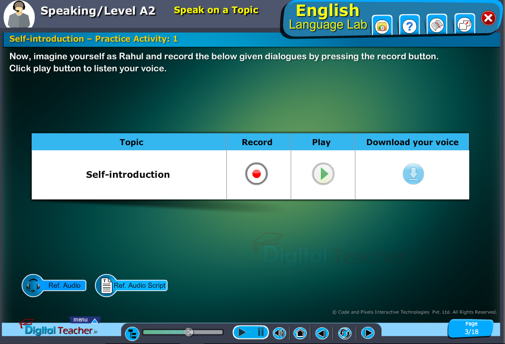 English language lab speaking infographic provides activity of self introduction for speaking on a topic activity