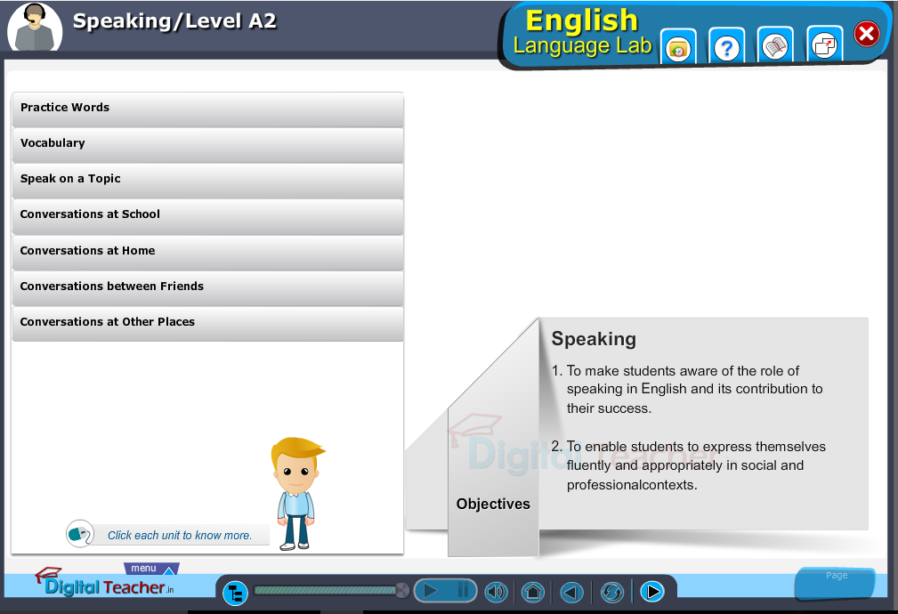 English language lab speaking infographic provides activities with level A2 of speaking skills