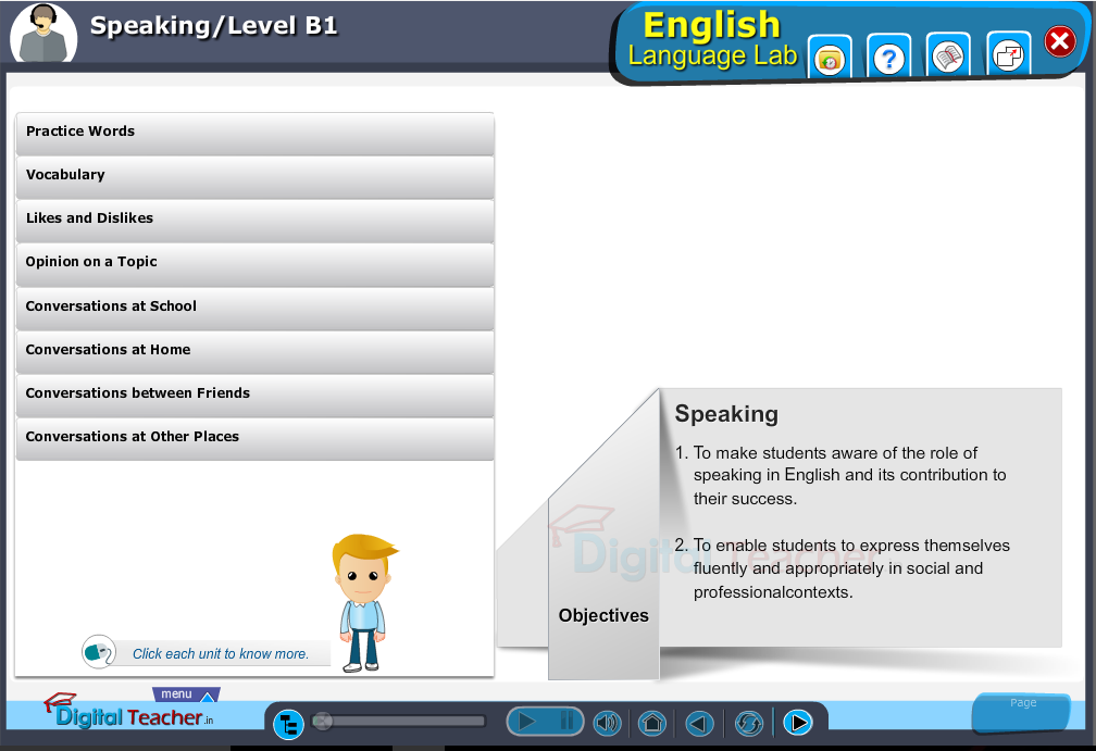 English language lab speaking infographic provides activities with level b1 of speaking skills