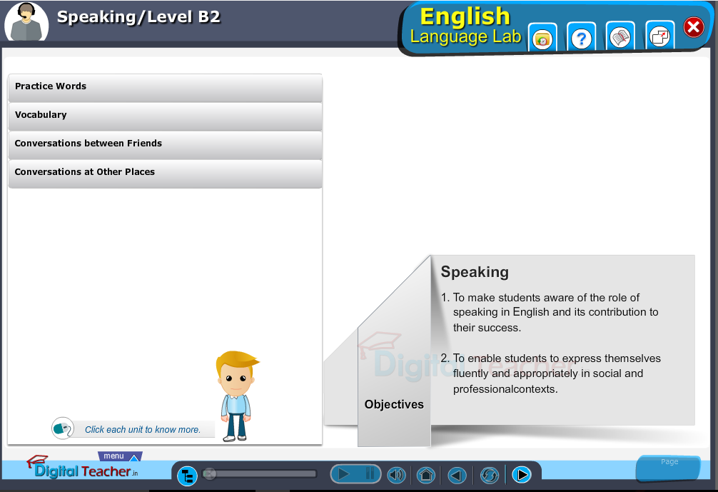 English language lab speaking infographic provides activities with level b2 of speaking skills
