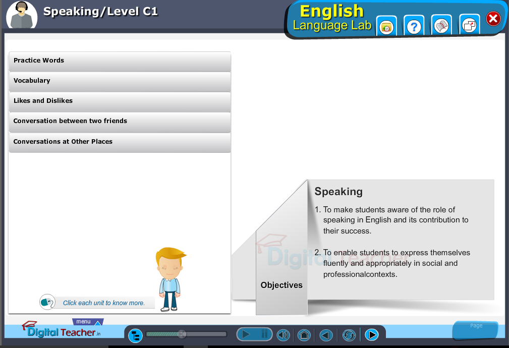 English language lab speaking infographic provides activities with level c1 of speaking skills
