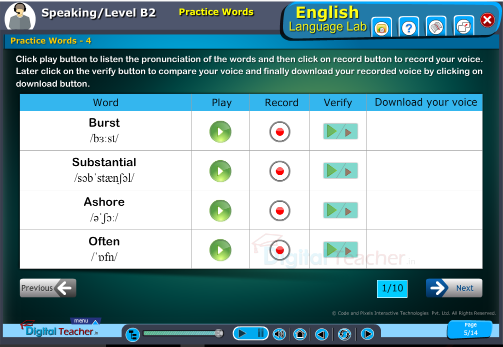 English language lab speaking infographic provides activity of practicing words by listening pronunciation and recording them by your voice to compare.