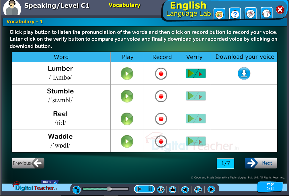 English language lab speaking infographic provides activity of vocabulary for pronunciation of words